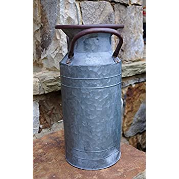 Galvanized Milk Can, Metallic