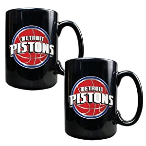 Detroit Pistons NBA 2pc Black Ceramic Mug Set - Primary Logo by Great American Products