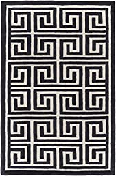 Charcoal & Ivory Designer Rug Contemporary 5-Foot x 7-Foot 6-Inch Hand-Made Greek Key Geometric Carpet