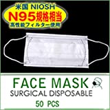 【訳あり品】N95規格相当 PM2.5対応 医療用3層サージカルマスク 50枚セット