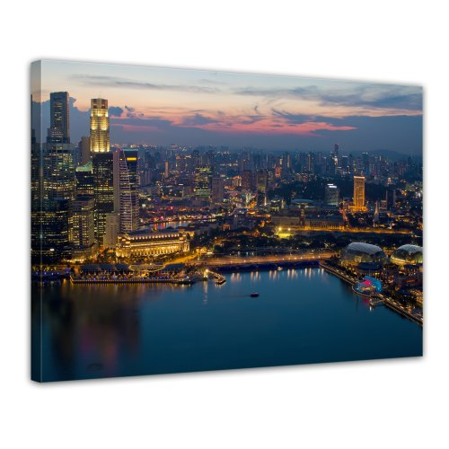 Bilderdepot24 Leinwandbild Singapur - 70x50 cm 1 teilig - fertig gerahmt, direkt vom Hersteller
