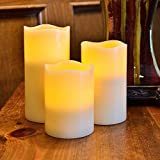 LED Flameless, Flickering, Real Wax, Battery Operated, New Pillar Candles with Remote Control. LED Bulb Life up to 60,000 Hours. Great for Home Décor, Parties, Weddings, Funerals, Love & Romance, Gifts. LED Candle Lights by White Light Design