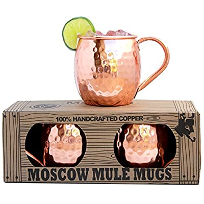 100% Solid Copper Moscow Mule Mugs (No Nickel Interior) Highest Quality - EACH HANDCRAFTED MUG WEIGHS OVER 1/2 POUND - Gift Box Set of 2, Hammered Finish, 16oz Capacity - by Morken by Morken