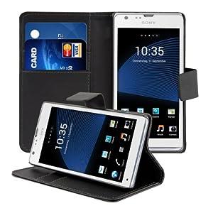 kwmobile® Elegante Kunstledertasche für das Sony Xperia SP mit Magnetverschluss und Ständerfunktion in Schwarz