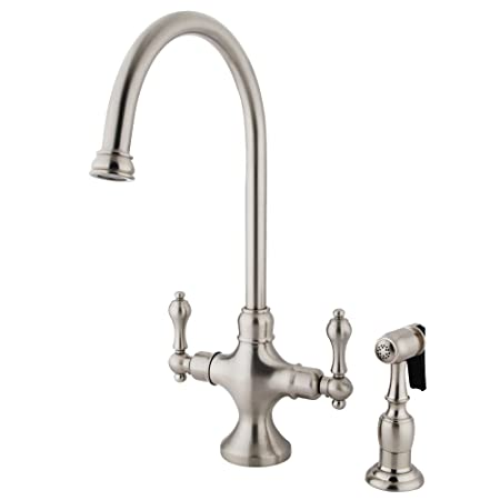 Kingston Brass KS1768ALBS Vintage Classic Kitchen Faucet with Brass Sprayer, 7-7/8-Inch, Satin Nickel