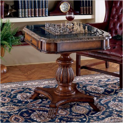 Butler Estate Fossil Stone-Top Pedestal Game Table - Free Shipping