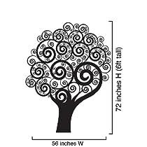 Vinyl Wall Art Decal Sticker Swirling Circle Tree 72