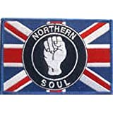Sew-on Iron-on Embroidered Patch Northern Soul Fist Union Jack Scooter Ska Badge