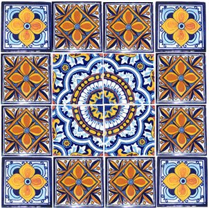 16 Hand Painted Talavera Mexican Tiles 4