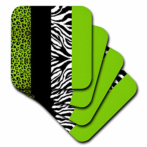 Lime Green Animal Print Soft Coasters, Set of 8