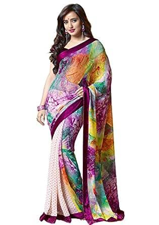 Amazon.com: Sapphire Fashions Women's Multicoloured Georgette Sari