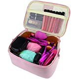 Travelmall 2 layer large capacity Cosmetic Makeup Brush organizer with Belt Strap Holder Multifunctional makeup Bag for Travel & Home (pink)