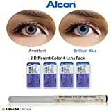 Alcon Freshlook Monthly 2 Color Combo(Amethyst, Brilliant Blue) Zero Power Contact Lenses With Free Eye/Lip Liner...