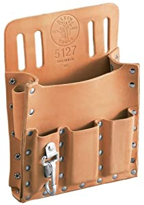 Klein Tools 5127 Leather 6-Pocket Tool Pouch with Knife Snap