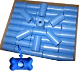 700 Pet Waste Bags, Dog Waste Bags, Bulk Poop Bags on a roll, Clean up poop bag refills - (Color: Blue) + FREE Bone Dispenser, by Pet Supply City LLC