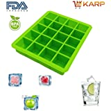 KARP™ Silicone Flexible Silicone Square 20 Cavities Ice Cube Tray Maker Mold With Lid Perfect Ice Spheres For...