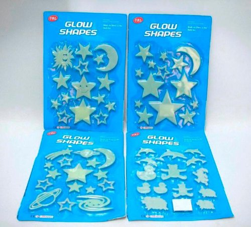 UBL GLOW IN THE DARK SHAPE STICKERS KIDS BEDROOM BABY FUN WALL ROOF NEW STAR SHAPE