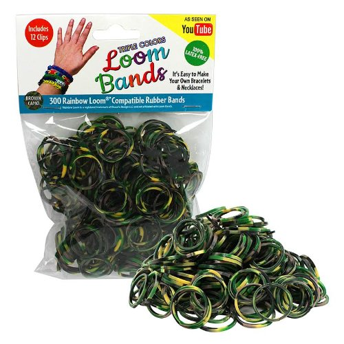Loom Rubber Bands - 300 Pc Triple Color Rubber Band Refill Pack (Brown Camo) - 100% Latex Free and Compatible with All Looms - 1