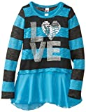 Beautees Big Girls Love Top with Popover Sweater, Blue, Medium