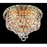 Low Price For Elegant Lighting 2527F10G/RC Tranquil 8-Inch High 4-Light Flush Mount- Gold Finish with Crystal (Clear) Royal Cut RC Crystal With Deal