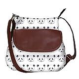 #8: Snoogg Cute Panda Black And White Pattern Casual Spacious MultiPurpose Sling Bag Carry Around