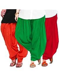 Women's ORANGE-GREEN-RED Cotton Patiala Salwar (pack Of 3)