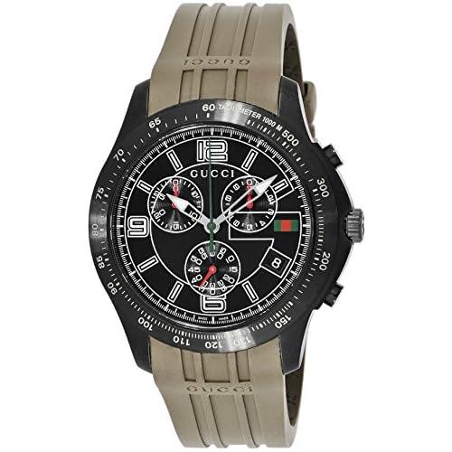 [グッチ]GUCCI 腕時計 Gタイムレス ブラック文字盤 ステンレス(BKPVD)ケース ラバーベルト クロノグラフ デイト YA126207 メンズ 【並行輸入品】