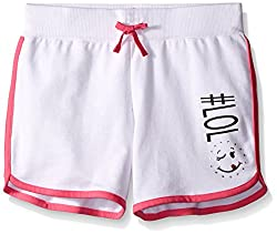 Dream Star Big Girls French Terry Dolphin Short with Screen and Contrast Piping, White/Bright Pink, Medium/10/12