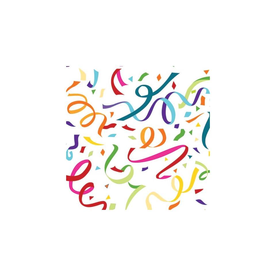 Jillson Roberts Flat Gift Wrap, Confetti and Streamers, 12 Sheet Count (F239)