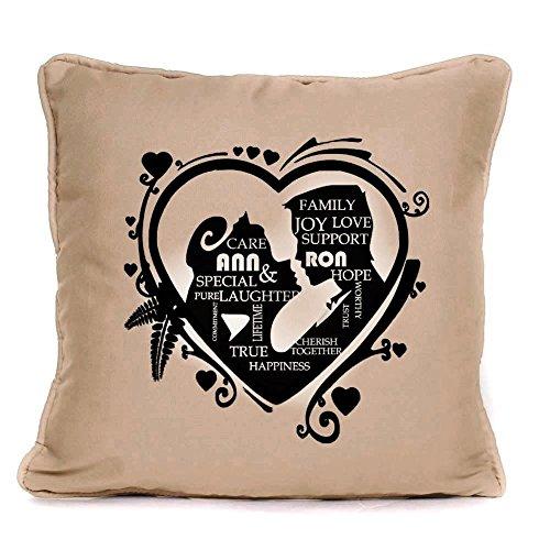Cuscino decorativo, perfetta idea regalo per matrimoni, anniversari, San Valentino regalo unico Idea., crema, 45 cm x 45 cm