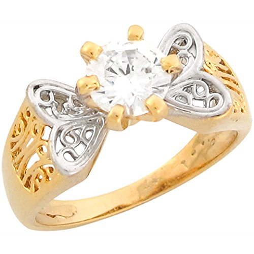 14K Real Two Toned Gold 1.87Ct Cz Solitaire Butterfly Engagement Ring