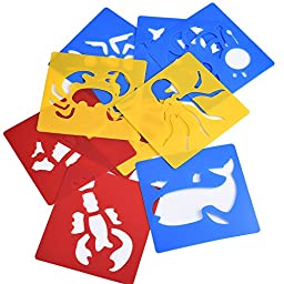 eBoot Assorted Colors Plastic Animals painting Stencil for Kids Crafts, 5.94 5.59 Inch, Set of 12