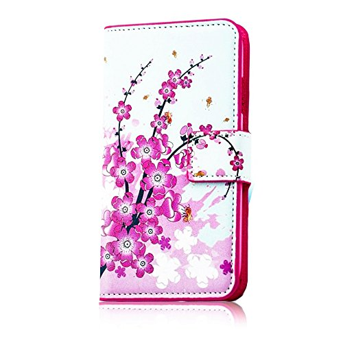 Vandot 1 X 3D Bling Plum Blossom Flip Leather Case Protective Skin Case Cover Skin Hard Cover For Huawei Ascend P6 Flower Leather Case front-538669