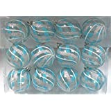 Queens Of Christmas WL-ORN-12PK-CL-ASW 12 Pack Ball Ornament With Aqua, Silver And White Swirls Design, Clear