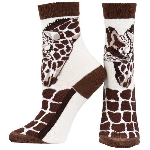 Animal World - Giraffe & Baby Women'S Socks - Large Off-White front-1036232
