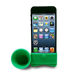 RKA For Apple iPhone 4 4S Portable Silicone Horn Stand Audio Dock Amplifier Speaker Green