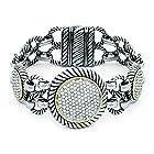 Sparkling Round Pave CZ Cable Bali Bracelet