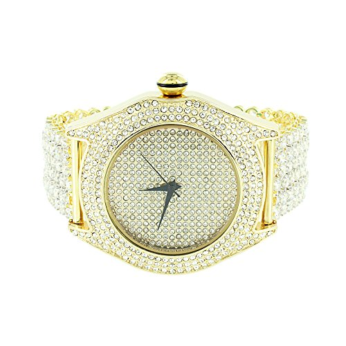 Mens Gold Finish Watch Fully Iced Out Bling Joe Rodeo Jojo Jojino CZ Hip Hop New (Fully Iced Out compare prices)