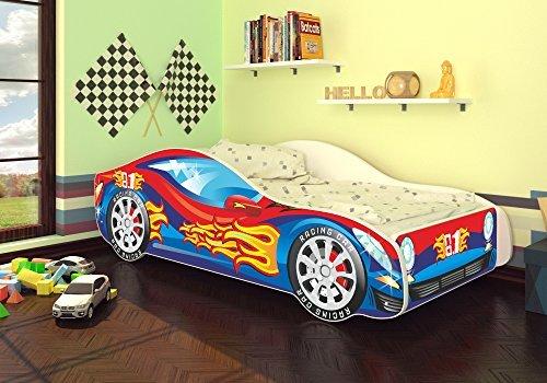 autobett junior in vier farben mit lattenrost und matratze 70x140 cm top angebot blau rot. Black Bedroom Furniture Sets. Home Design Ideas