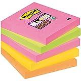 Post-it Pack 5 Blocs Notas Super Sticky 654-S Neón. Colores surtidos: rosa, verde, coral, amarillo y naranja. 90 hojas/bloc no encelofanados individualmente