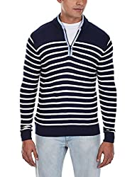 Flying Machine Men's Banded Collar Acrylic Sweater (FMSW0212_Navy_M)