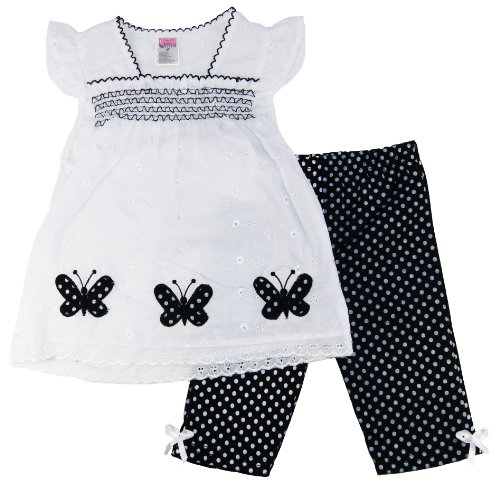 Coney Island Infant 3-24M Baby-Girls Spring Black/White Butterfly Dress & Pants