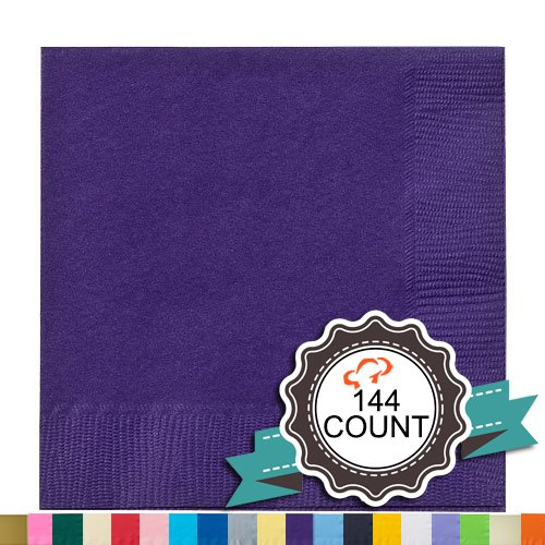 Tiger Chef 144-Pack Purple, 9 7/8 inch 2-Ply Colored Paper Beverage Napkins - Wedding, Decorative, Party Napkins (144, Purple)