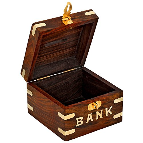 Safe Money Box Wooden Piggy Bank For Boys Girls And Adults: decorative piggy banks for adults