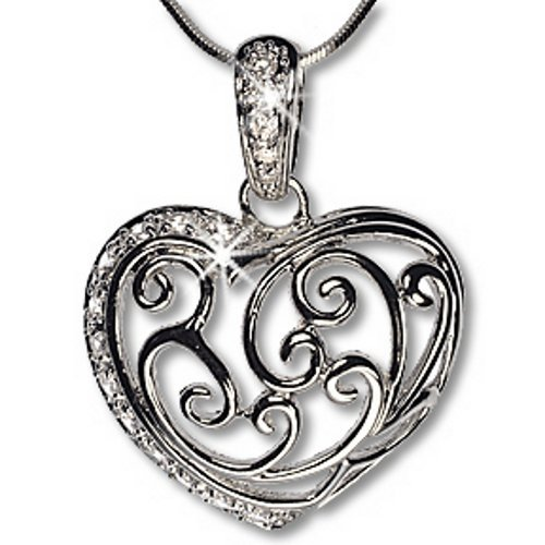 Silver Bonded Cubic Zirconia Heart Filigree Pendant Necklace
