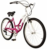 Schwinn Southport Women's Cruiser Bike (26-Inch Wheels, White/Fuschia)