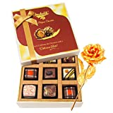 Valentine Chocholik Premium Gifts - Well-prepared Chocolate Gift Box With 24k Gold Plated Rose