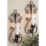 Home Essentials Set Of Two (2) 17-inch Candle Holder Sconces Large Black Metal Wall Sconces For Candles