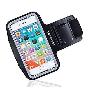 DBPOWER Armband de Téléphone Brassard de Sport Anti-Sueur avec Porte-clés (Noir, Pour iPhone 6 Plus/Galaxy S6/Huawei P8/Honor)