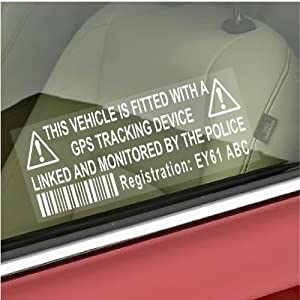 4 x Dummy/Fake GPS Personalised Tracker Device Unit Security Alarm System Warning Window Stickers with Registration,Tag Number Printed-Police Monitored Sign For Car,Van,Truck,Caravan,Motorhome,Lorry,Taxi,Minicab,Automobile